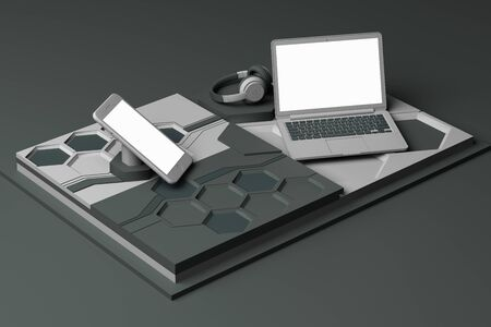 Laptop,smartphone and headphone with technology concept abstract composition of geometric shapes platforms in grey color. 3d rendering Stock Photo