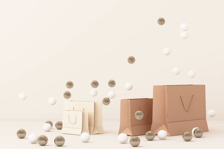 Pink shopping bag surrounding by a lot of gold and white ball. 3d rendering Stok Fotoğraf