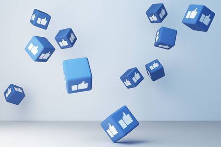 Like icon 3d box with white background. 3d rendering