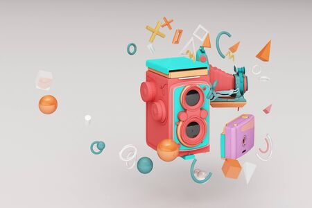 Colorful vintage camera surrounding by memphis pattern on a white background.-3d render.