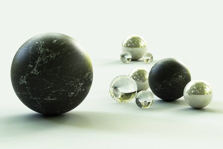 Geometric shapes with forest environment reflected on sphere. 3d rendering Stock fotó