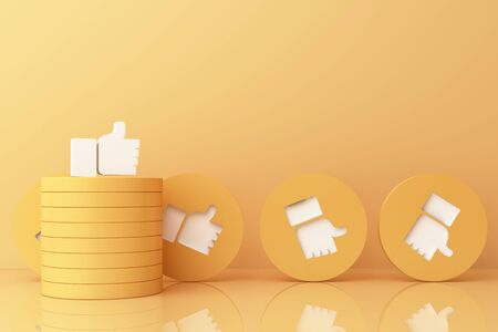 Thumb up symbol, finger up icon, like icon on yellow geometric shapes. 3d rendering