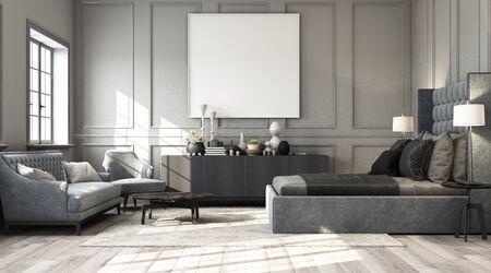 Dormitorio clásico moderno con pared decorada con elementos clásicos y muebles en tono gris y obras de arte enmarcadas. Render 3d