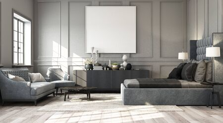 Modernes klassisches Schlafzimmer mit Wanddekoration durch klassische Elemente und Möbel in Grautönen und Rahmengrafiken. 3D-Rendering