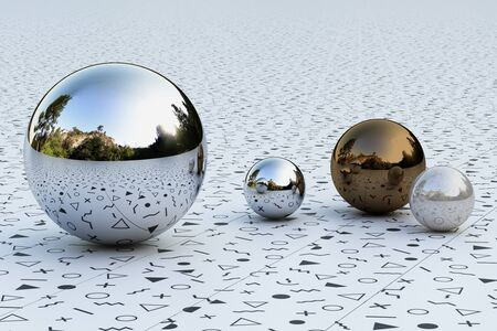 Geometric shapes with memphis pattern environment reflected on sphere. 3d rendering Stock fotó