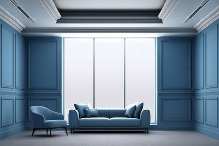 3d rendering illustration of living room with blue luxury classic wall panel.