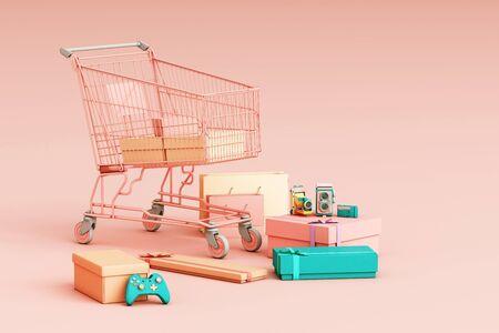Panier de supermarché entouré d'une boîte-cadeau sur fond rose. rendu 3D
