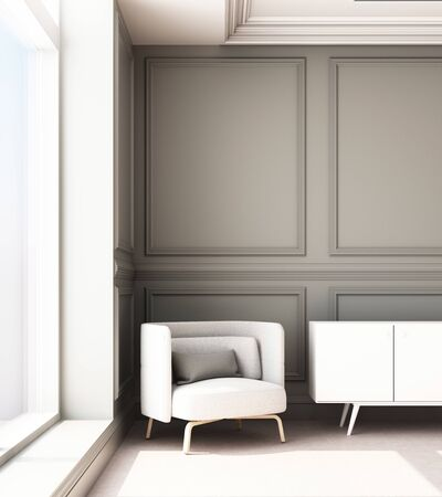 3d rendering illustration of living room with luxury classic wall panel and armchair.