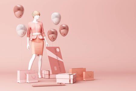 Maniquí rodeado por una bolsa de compras y la caja de regalo con tarjeta de crédito en el fondo rosa. Representación 3d