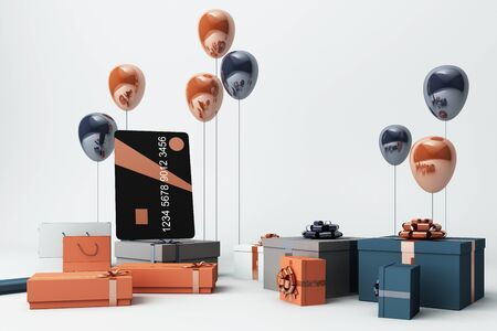 Black credit card surrounding by a lot of gift box and balloons. 3d rendering
