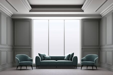 3d rendering illustration of living room with luxury classic wall panel. Zdjęcie Seryjne