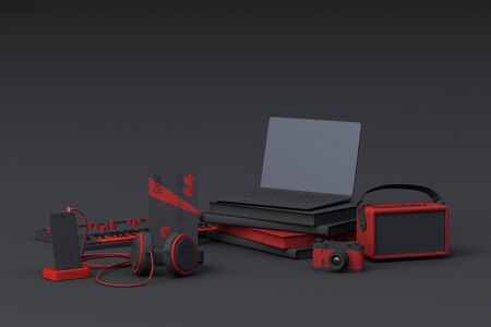 Laptop surrounding by colorful gadgets on grey background. 3d rendering