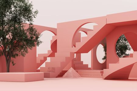 Geometric shape composition with stair and arch on white background. 3d rendering