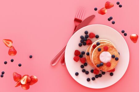 Pancake with blueberry and strawberry in the plate on pink pastel background. 3d render Banco de Imagens