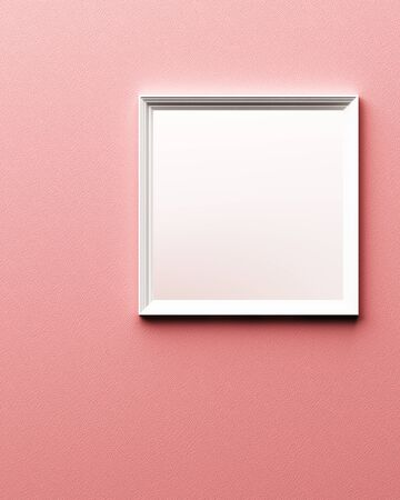 White frame on pink leather texture background. 3d rendering 写真素材