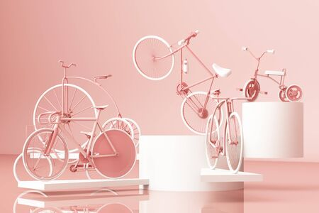 Many bicycle on platform with pink background. Retro bike. 3d rendering