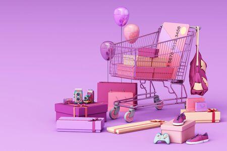 Supermarkt-Einkaufswagen, der von Geschenkbox mit Kreditkarte auf violettem Hintergrund umgeben ist. 3D-Rendering Standard-Bild