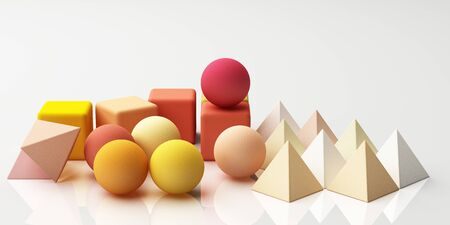 Set of colorful realistic geometric shape with fabric texture on white background. 3d rendering