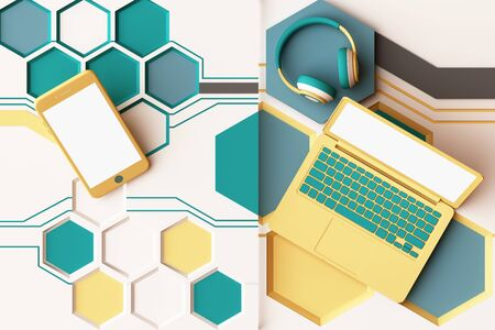 Laptop,smartphone and headphone with technology concept abstract composition of geometric shapes platforms in yellow and green color. 3d rendering