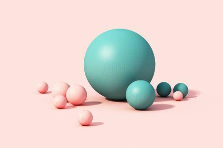 Pink and green sphere ball on pink pastel background. 3d render Reklamní fotografie