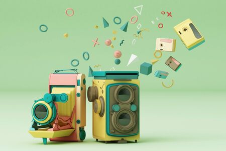 Colorful vintage camera surrounding by memphis pattern on a green background.-3d render.