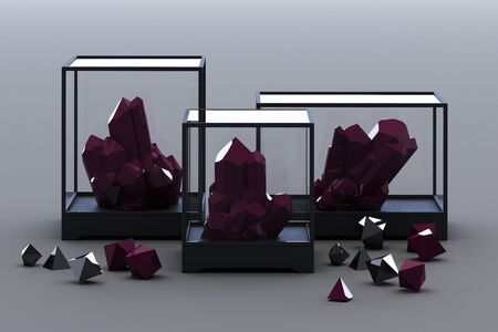 Product of black mineral formation, minerals, quartz, gems, diamonds. 3d rendering
