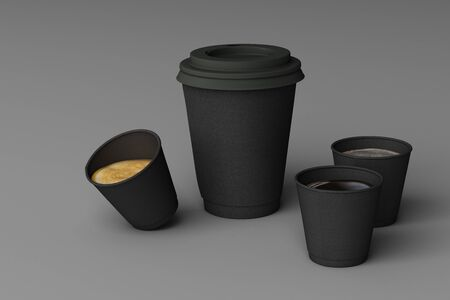 Set of black coffee cups on grey background. 3d rendering