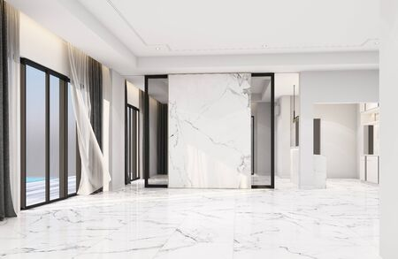 Interior living area without furniture in modern luxury style and marble decorate. 3D rendering
