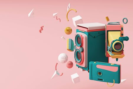 Colorful vintage camera surrounding by memphis pattern on a pink background.-3d render. 스톡 콘텐츠