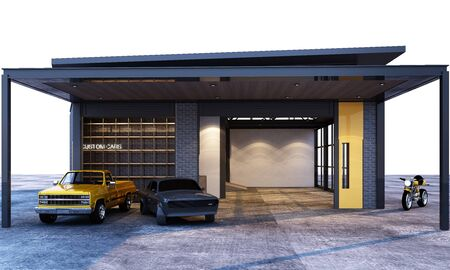 Exterior and interior garage industrial loft style with cars. 3d rendering