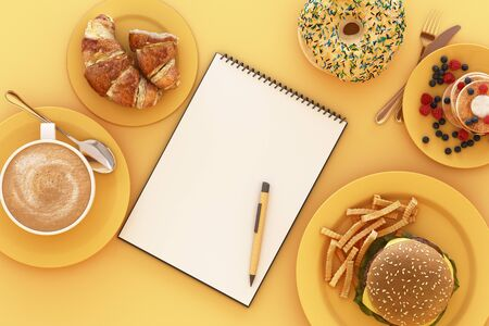 Coffee cup and croissant and hamburger with clipboard in the plate on yellow background. 3d render