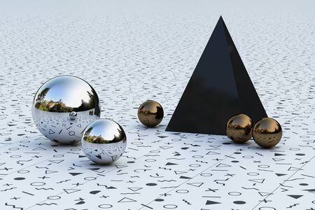 Geometric shapes with memphis pattern environment reflected on sphere. 3d rendering Stockfoto