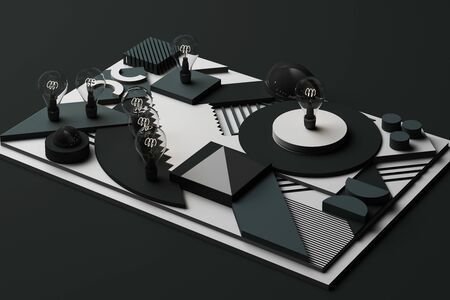 light bulbs concept abstract composition of geometric shapes platforms in grey tone. 3d rendering