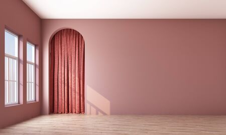 Modern memphis interior with pink wall and pink curtain arch. 3d rendering Stock Photo