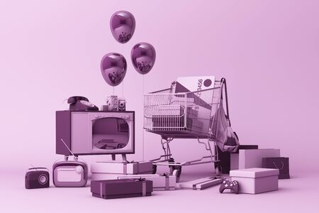 Supermarket shopping cart surrounding by gift box with credit card and many gadget on purple background. 3d rendering