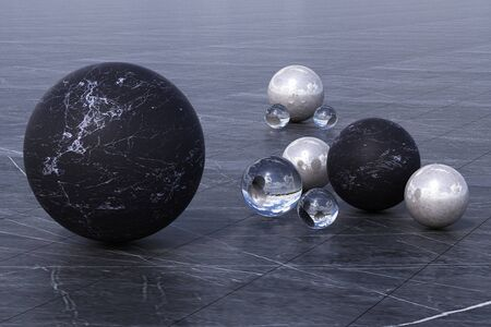 Geometric shapes with cloudy environment reflected on sphere. 3d rendering