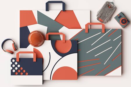 Design with composition of shopping bag by geometric memphis style shapes in orange and blue tone. 3d rendering illustration
