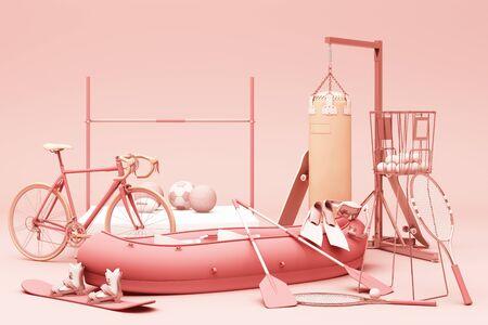 Sport equipment on pink background. 3d rendering