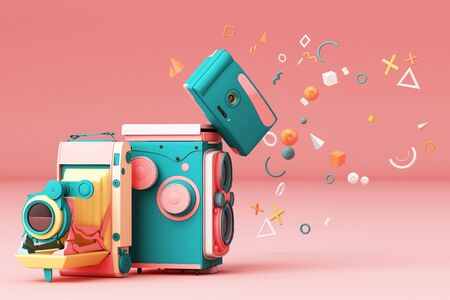 Colorful vintage camera surrounding by memphis pattern on a pink background. 스톡 콘텐츠