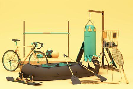 Sport equipment on yellow background. 3d rendering