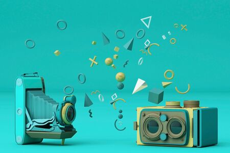 Colorful vintage camera surrounding by memphis pattern on a blue background.-3d render. 스톡 콘텐츠