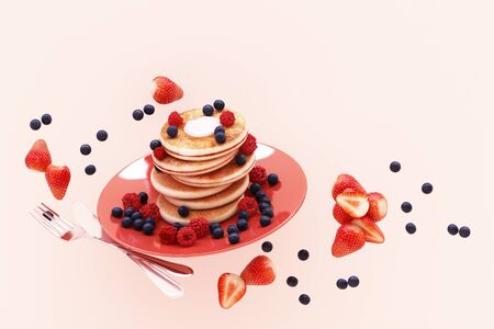 Pancake with blueberry and strawberry in the plate on pink pastel background. 3d render 스톡 콘텐츠