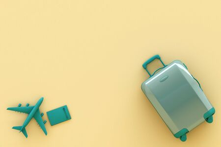 suitcase with traveler accessories on pastel yellow background. travel concept. 3d rendering Stock fotó