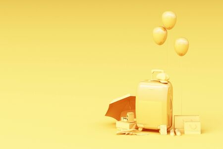 Suitcase with traveler accessories on yellow background. travel concept. 3d rendering Stock fotó