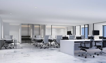Working area in modern office with white marble floor and meeting room. interior 3d rendering