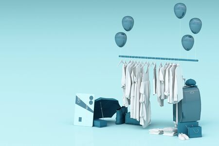 Clothes on a hanger surrounding by bag and market prop with credit card on the floor. 3d rendering