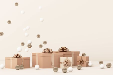 Pink  gift box  surrounding by a lot of gold and white ball. 3d rendering