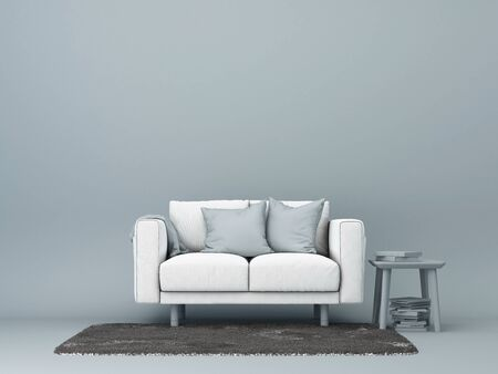 White sofa and grey side table. 3d rendering