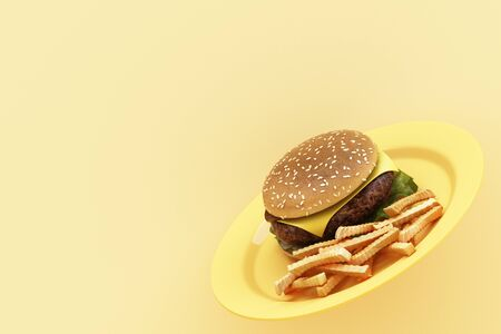 hamburger with french fries in the plate on yellow background. 3d render 스톡 콘텐츠