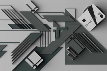 Credit card with gift box concept abstract composition of geometric shapes platforms in grey tone. 3d rendering
